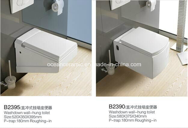 837 Sanitary Ware, Water Closet, Ceramic Washdown Wall-Hung Toilet