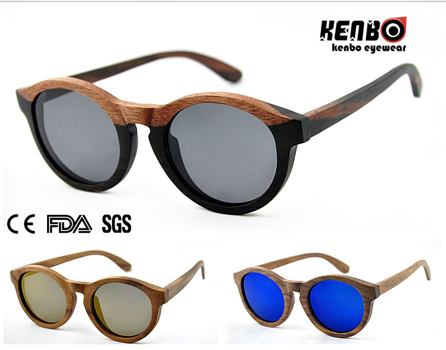 Real Wood Sunglasses Top Selling Round Frame (Optical frame) CE. FDA. Kw016