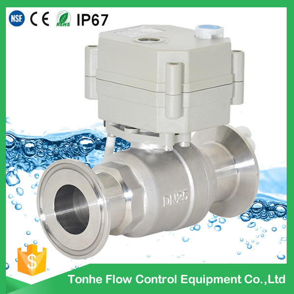 1′′ 304stainless Steel Motorized Sanitary Electric Actuator Ball Valve (T25-S2-B-Q)