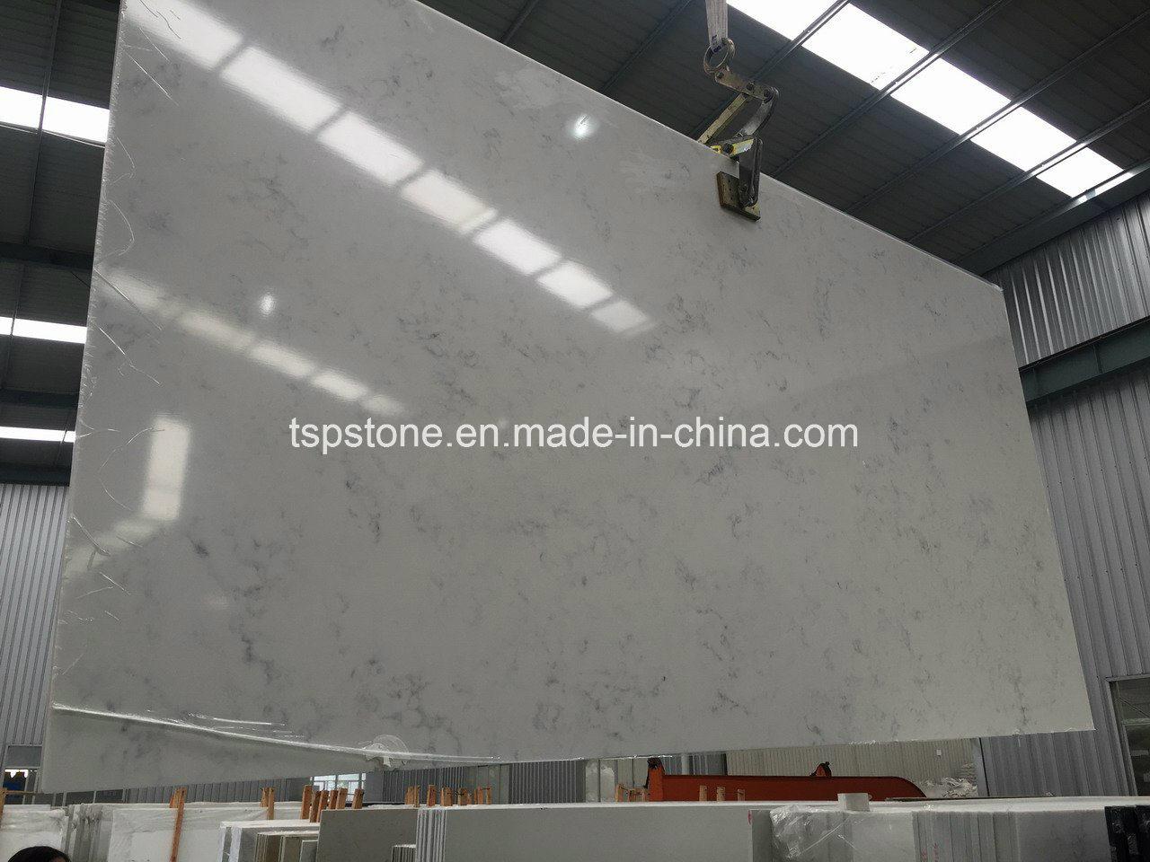 Carrara White Quartz Slab for Kitchen Countertop