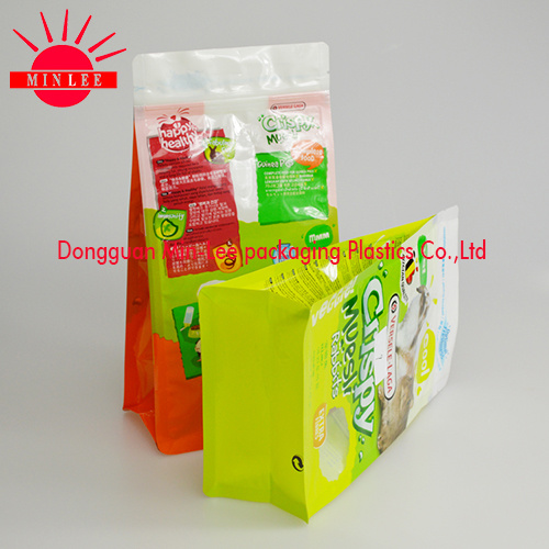 2016 Customized Printed Side Gusset Plastic Food Packaging Bag for Pet Food Packaging/Flat Bottom Bag