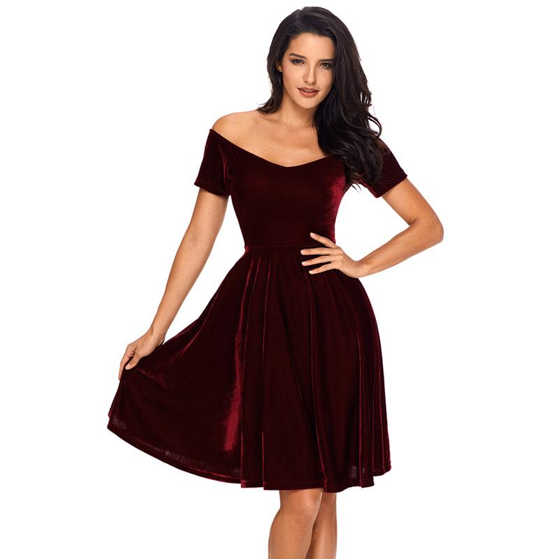 Custom Made Casual Women Red Velvet off Shoulder Dress