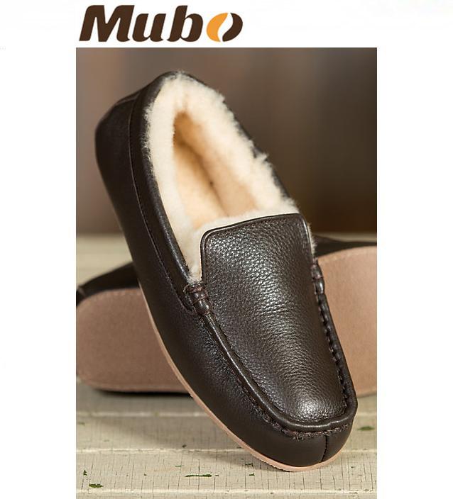 Men′s Genuine Leather Sheepskin Moccasin Slippers