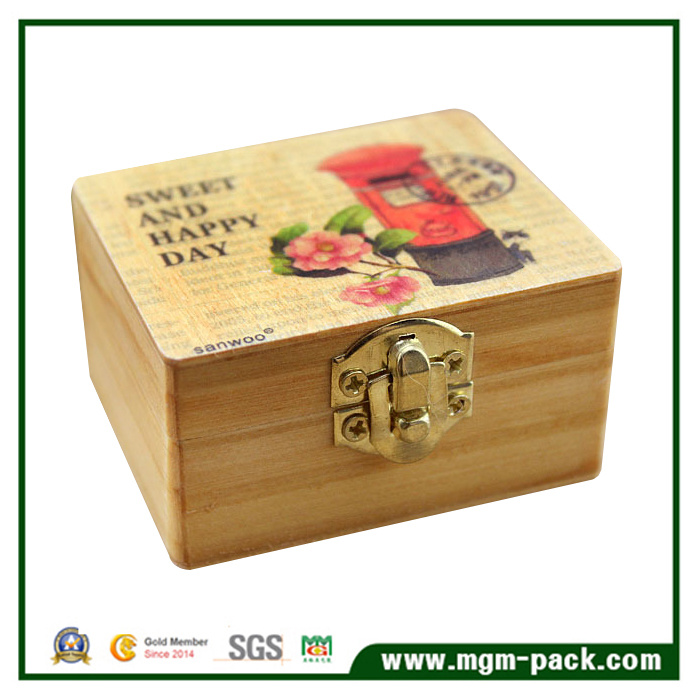 8 Tone Retro Handcrank Wooden Music Box for Gift