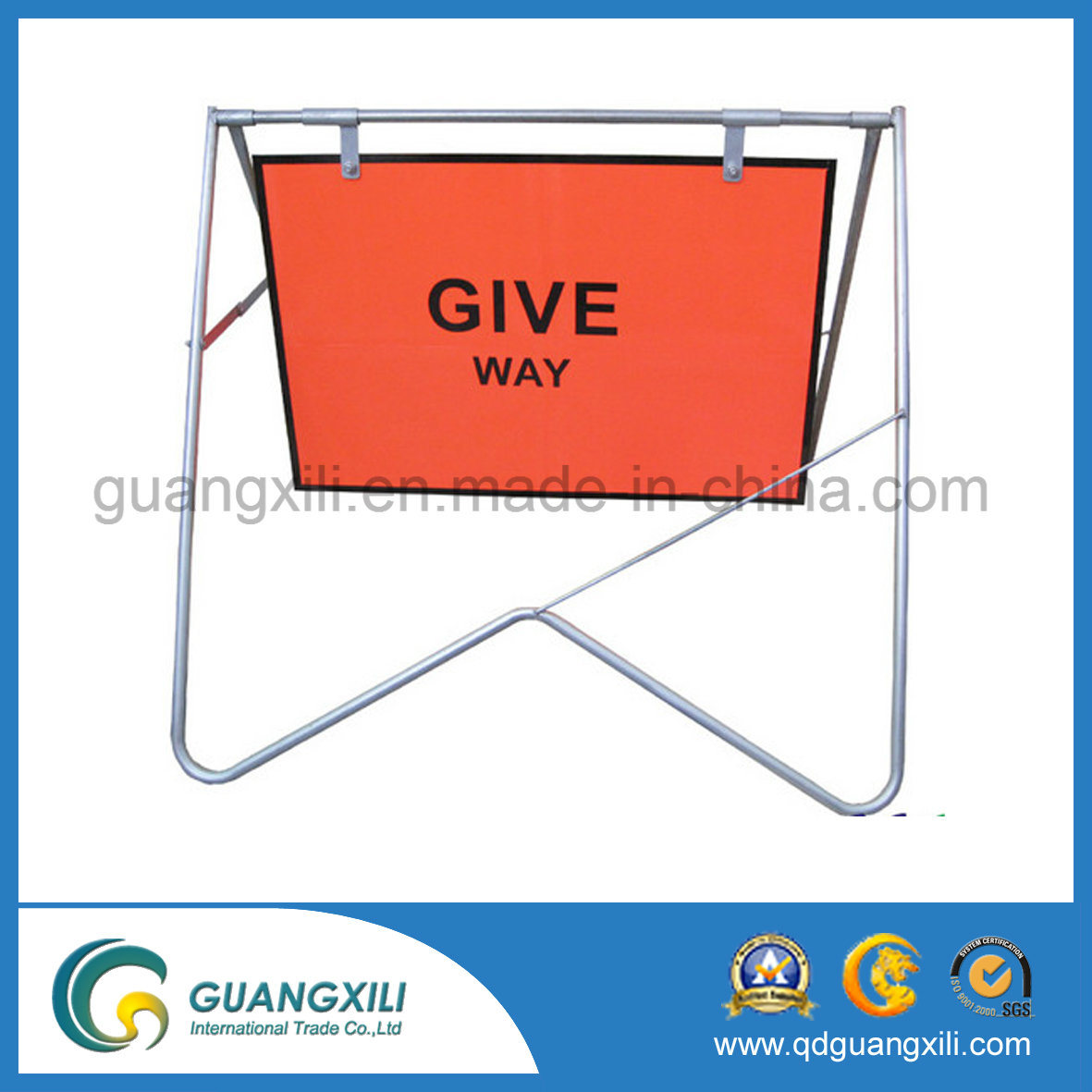 High Quality Portable and Folding Traffic Sign Board Frames for Road