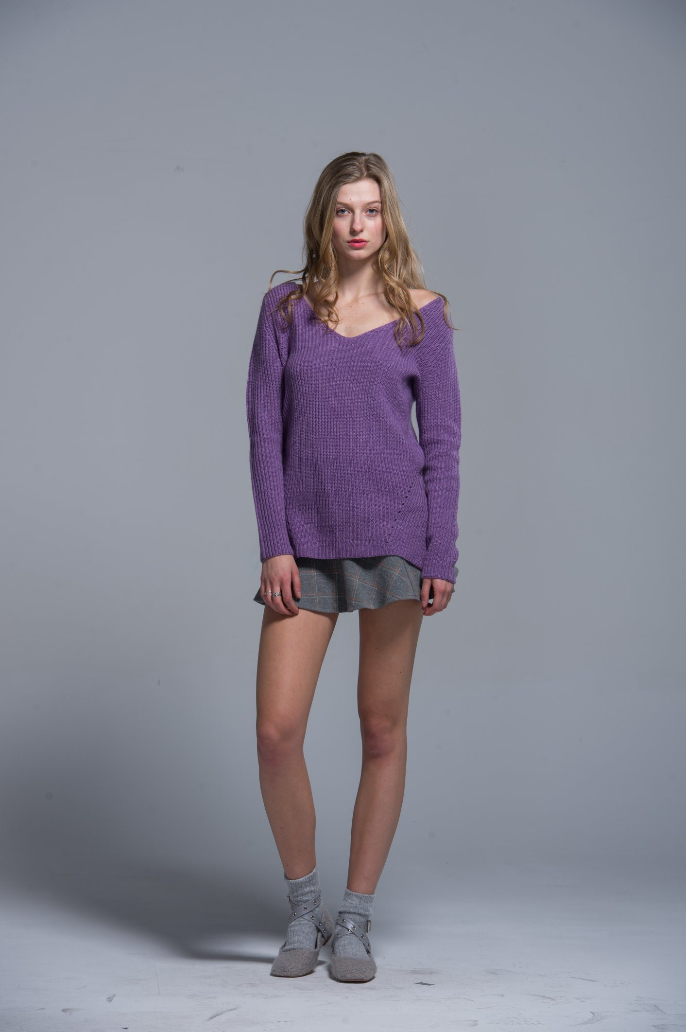 Ladies 100% Cotton Plain Color Fashionable Sweaters Standard Sizes