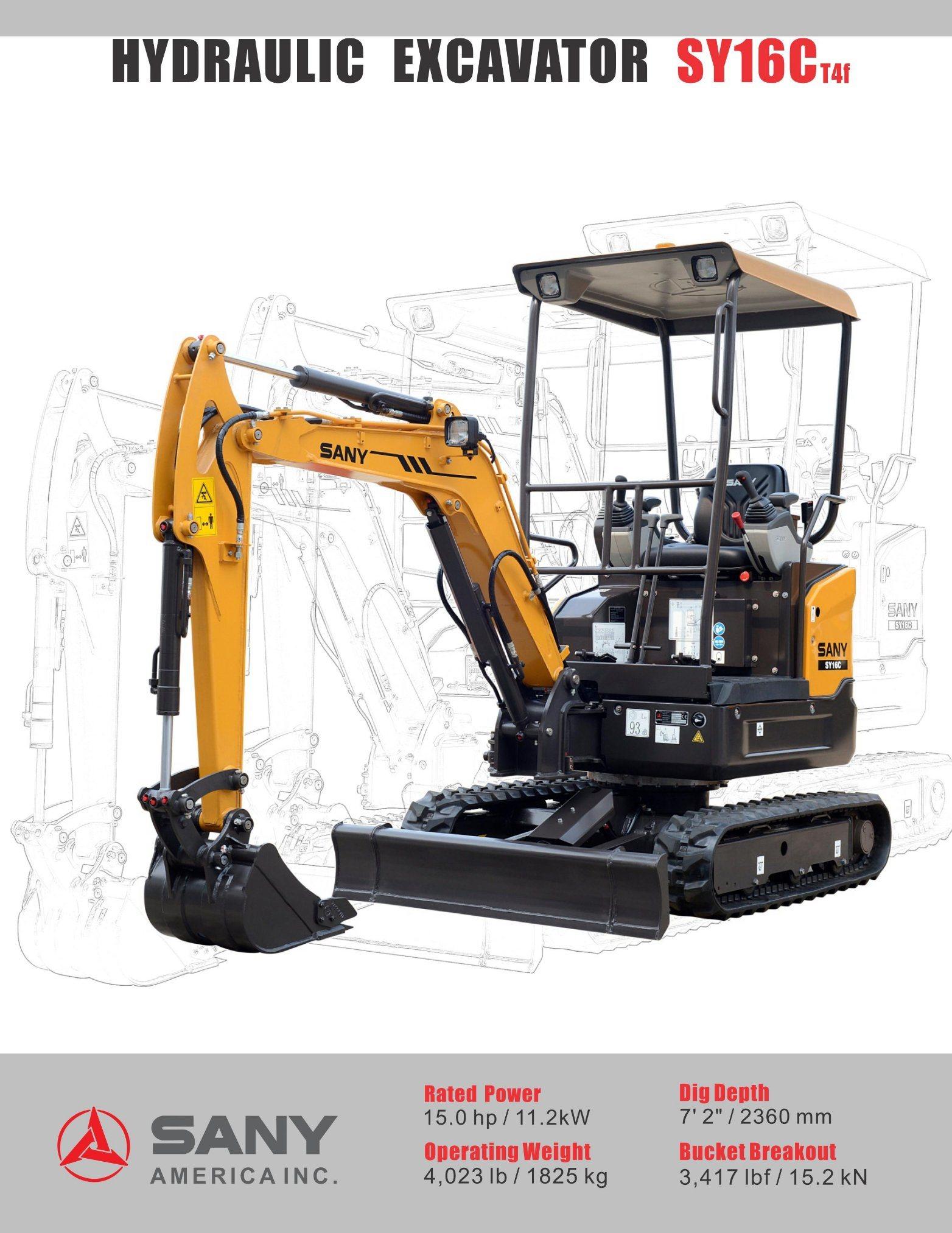 Sany Sy16c Mini Excavator Lower Fuel Mini Escavadeira 1.6ton Mini Excavator Prices