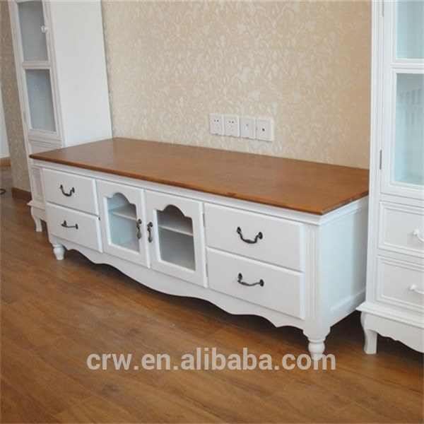 Wh-4096 White Long Wooden LCD TV Stand