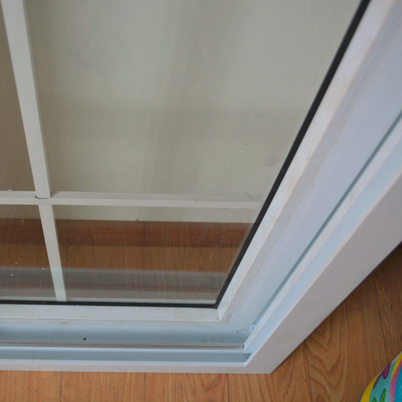 Double Glass with Grid White Colour UPVC Profile Sliding Window K02060