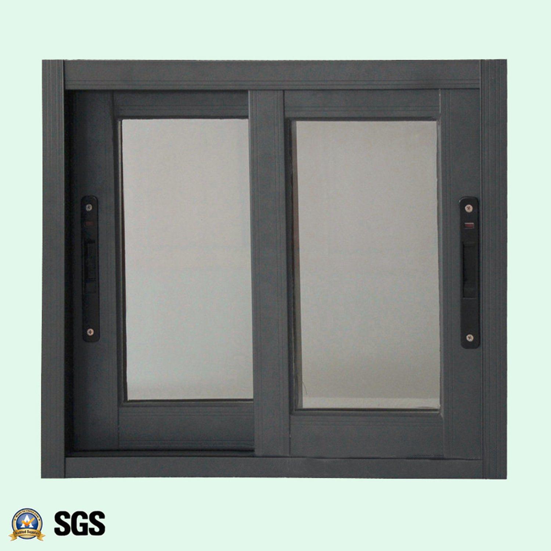 Powder Coated Grey Colour Aluminum Window with Latch Lock, Aluminum Sliding Window K01073