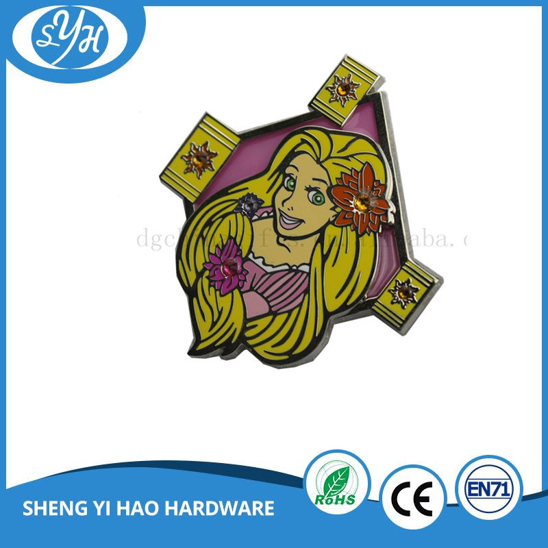 Glass Stain Imitation Cloisonne Metal Film Badge