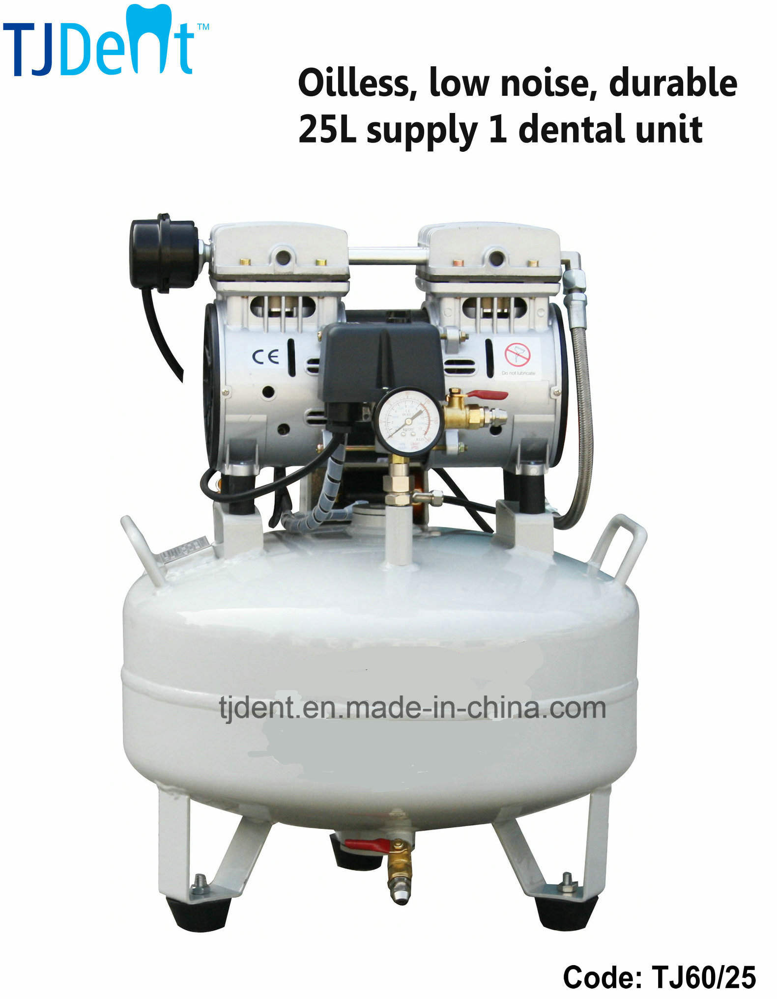 Oilless & Noiseless 25L Dental Air Compressor (TJ60/25)