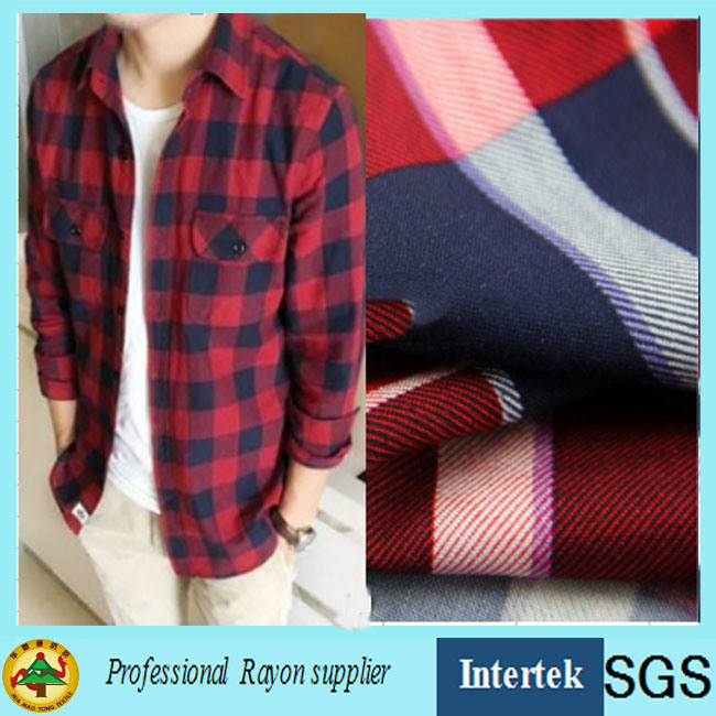 Twill Weave Shirt Fabric with Plaid Pattern