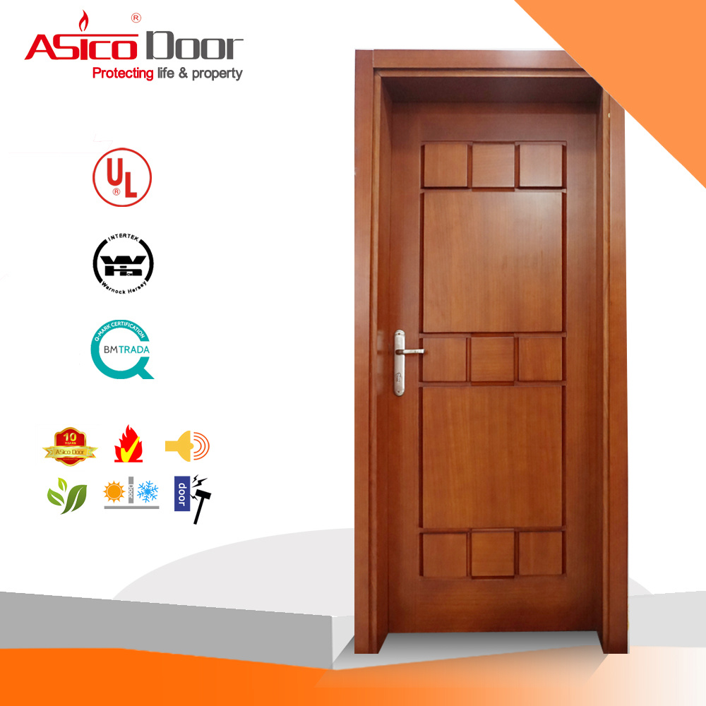 Solid Interior Wooden Safety Door with High Quality (ISO9001 Standard)