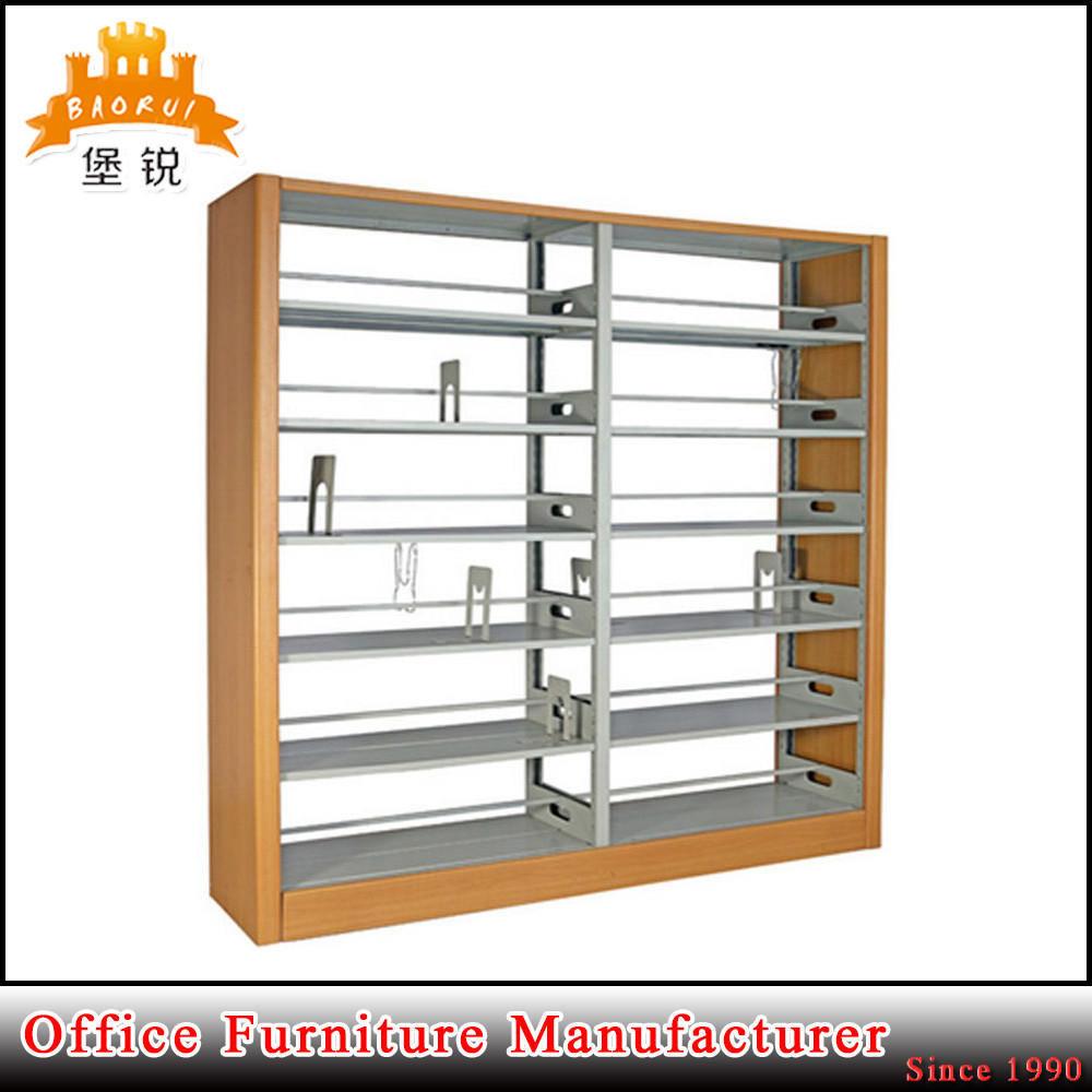 Metal Side Cloume 6 Adjustable Layer School Library Bookshelf