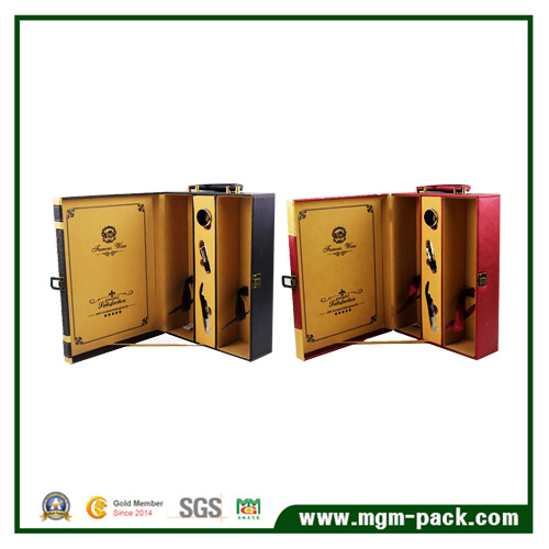 Custom Design Leather Storage Wooden Wine Box
