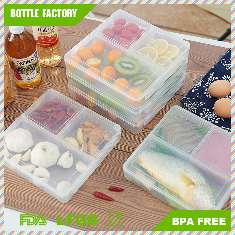3-Compartment Microwave Safe Food Container with Lid/Divided Plate/Bento Box/Lunch Tray with Cover