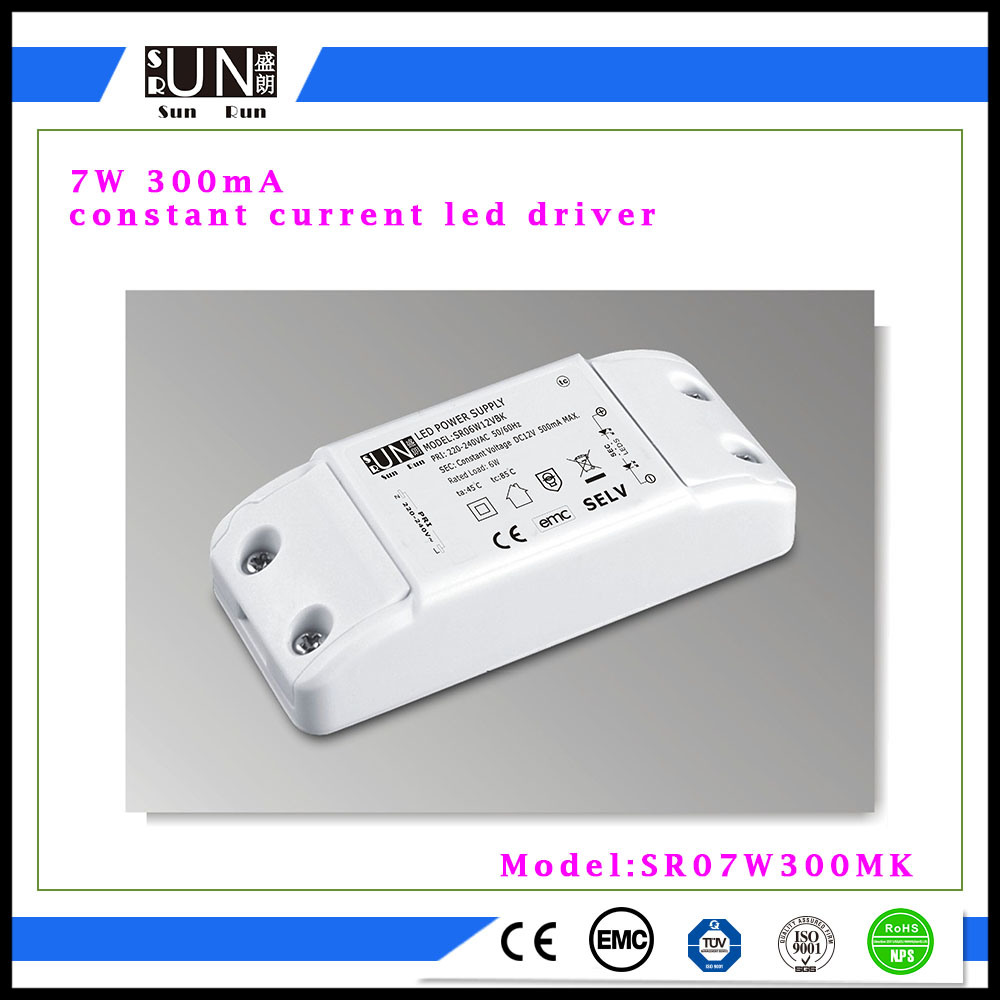 300mA 12V-21V 7W LED Power Supply, COB 300mA, LED Driver for LED Downlight 7W, 7X1w Power Supply, Constant Current 300mA LED Driver, Power Supply