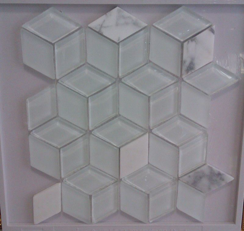 Rhombus White Glass Mosaic Tile (HGM379)