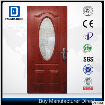 Decorative Small Oval Tempered Glass Insert Steel Door