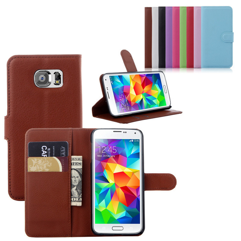 Cell Phone Wallet Leather Filp Case with Card Solt for Samsung Galaxy S6