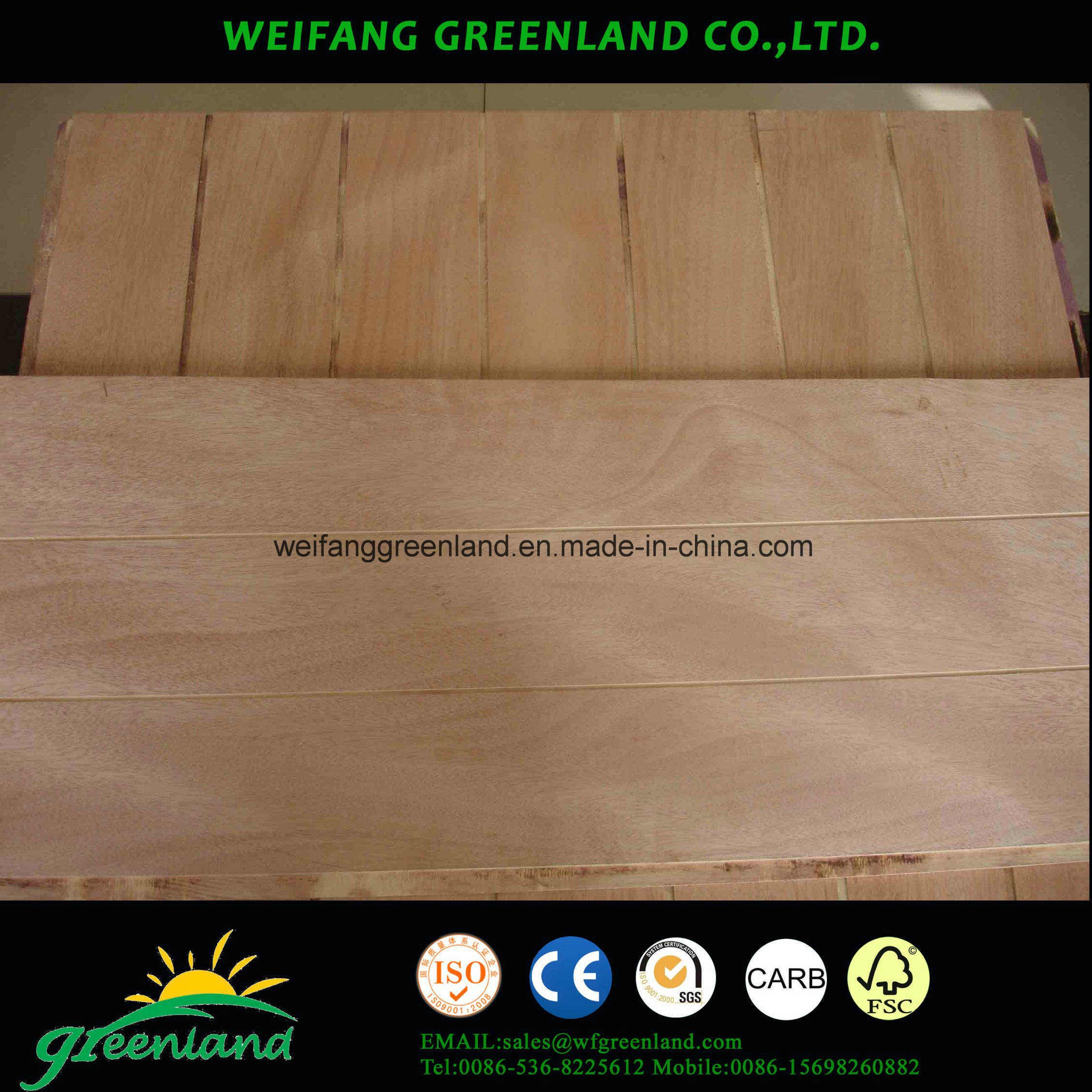 12mm Sloted Plywood, Hardwood Core, Phenolic Glue and Okume Film