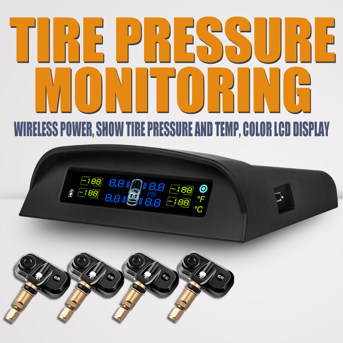 Universal Wireless LCD Solar Power Tire Pressure Monitoring System Internal TPMS