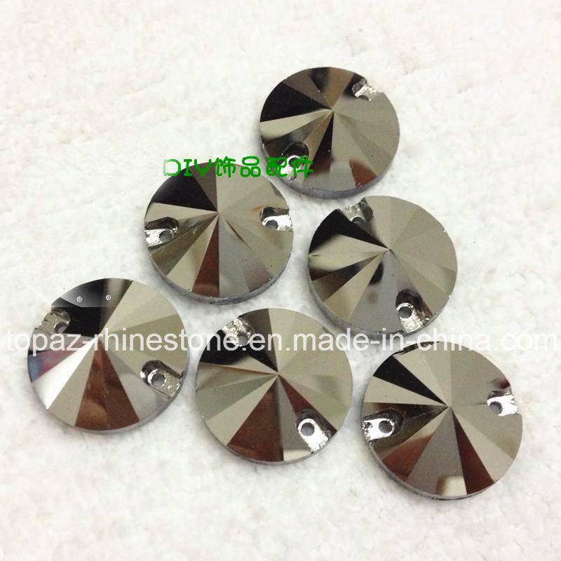 Rivoli 8mm-18mm Jet Hematite Flat Back Rhinestone Sew on Crystals (SW-Rivoli 8-18mm jet hematite)