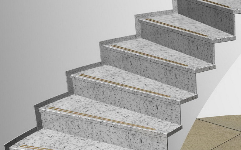 Rockwell White Granite : Granite gris clair stairs pour building project