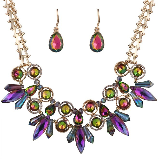 Fashion Glittering Colorful Crystal Rhinestone Choker Necklace Earring 2 PCS Jewelry Set