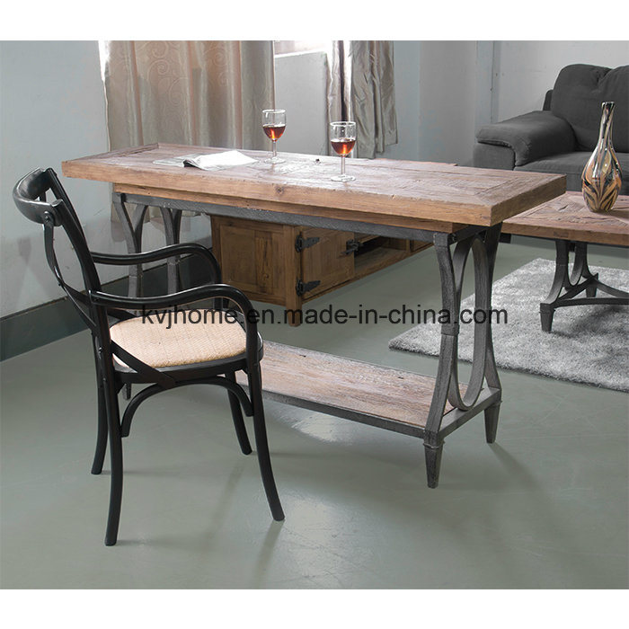 Rustic Recycled Elm Iron Branded Dining Table (Dt-4061)