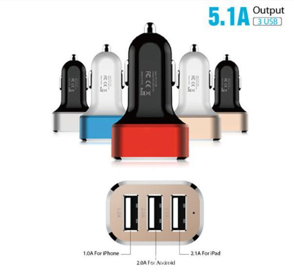 Smooth Mini Car Charger Dual 3*Ports USB Adapter for All Smart Phone 5V 2.1A, USB Car Charger for Samsung, iPhone