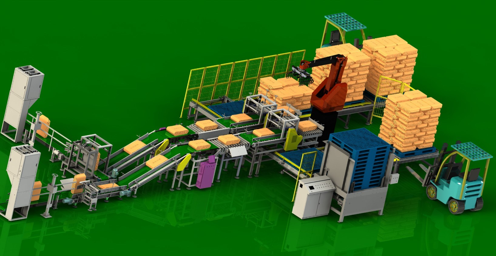 Fertilizer/ Manure Palletizing Robot Line (XY-SR-210)