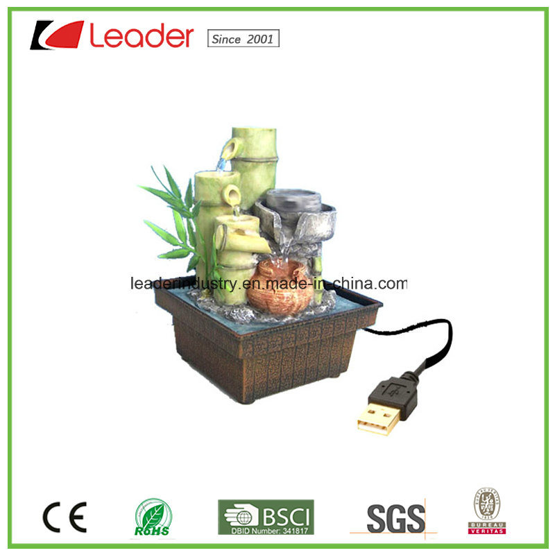 USB Charged Polyresin Water Fountain Bamboo Figurine for Table Decoration