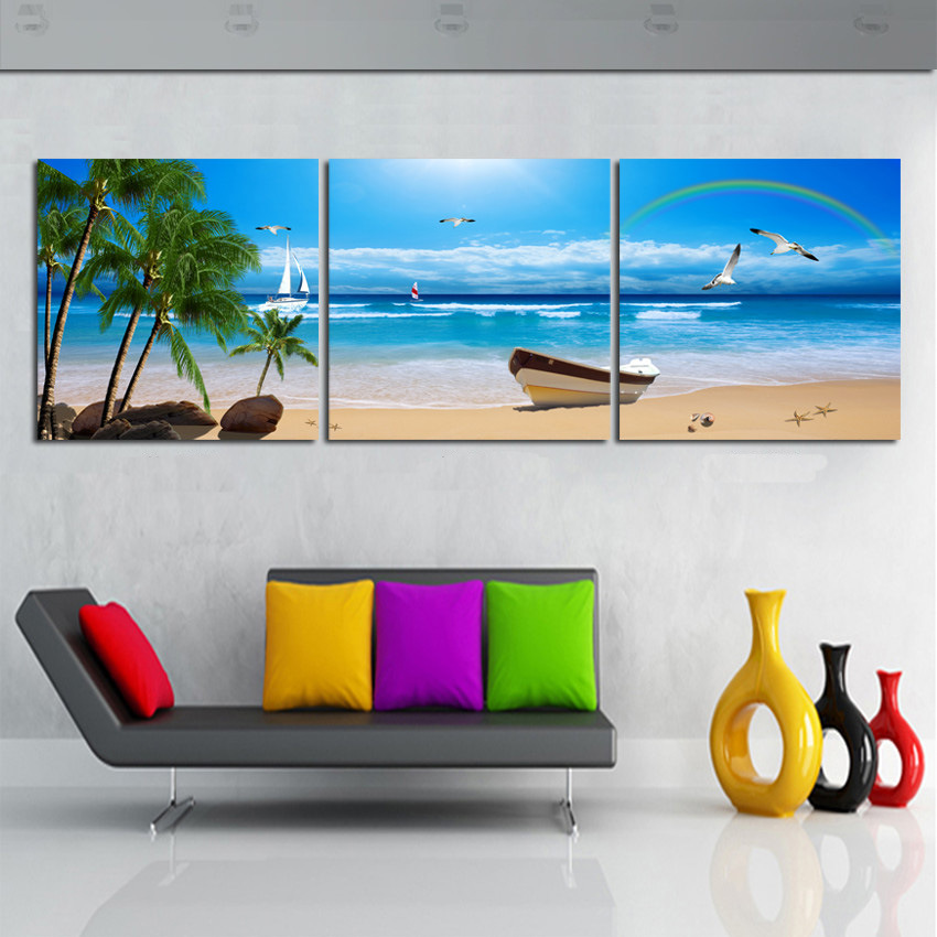 Best Price Promotion High Quality Wall Art Blue Sky Beach Seascape Canvas Prints