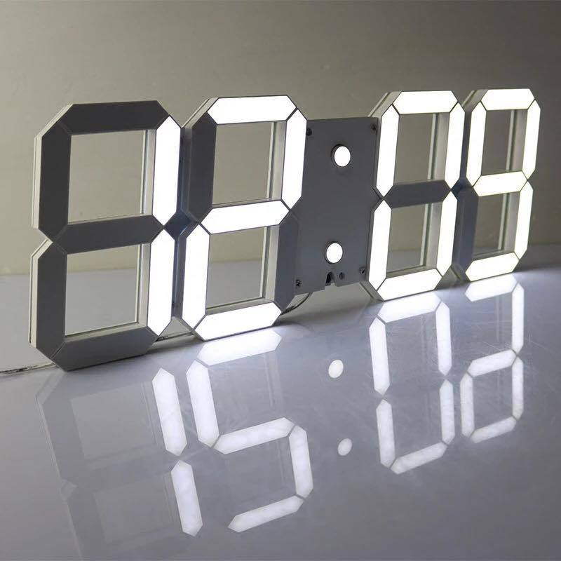 3D White LED Digital Clock with Remote Control and Light-Operated