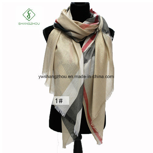 Western Style Spun Gold Plaid Shawl Fashion Lady Scarf Factory
