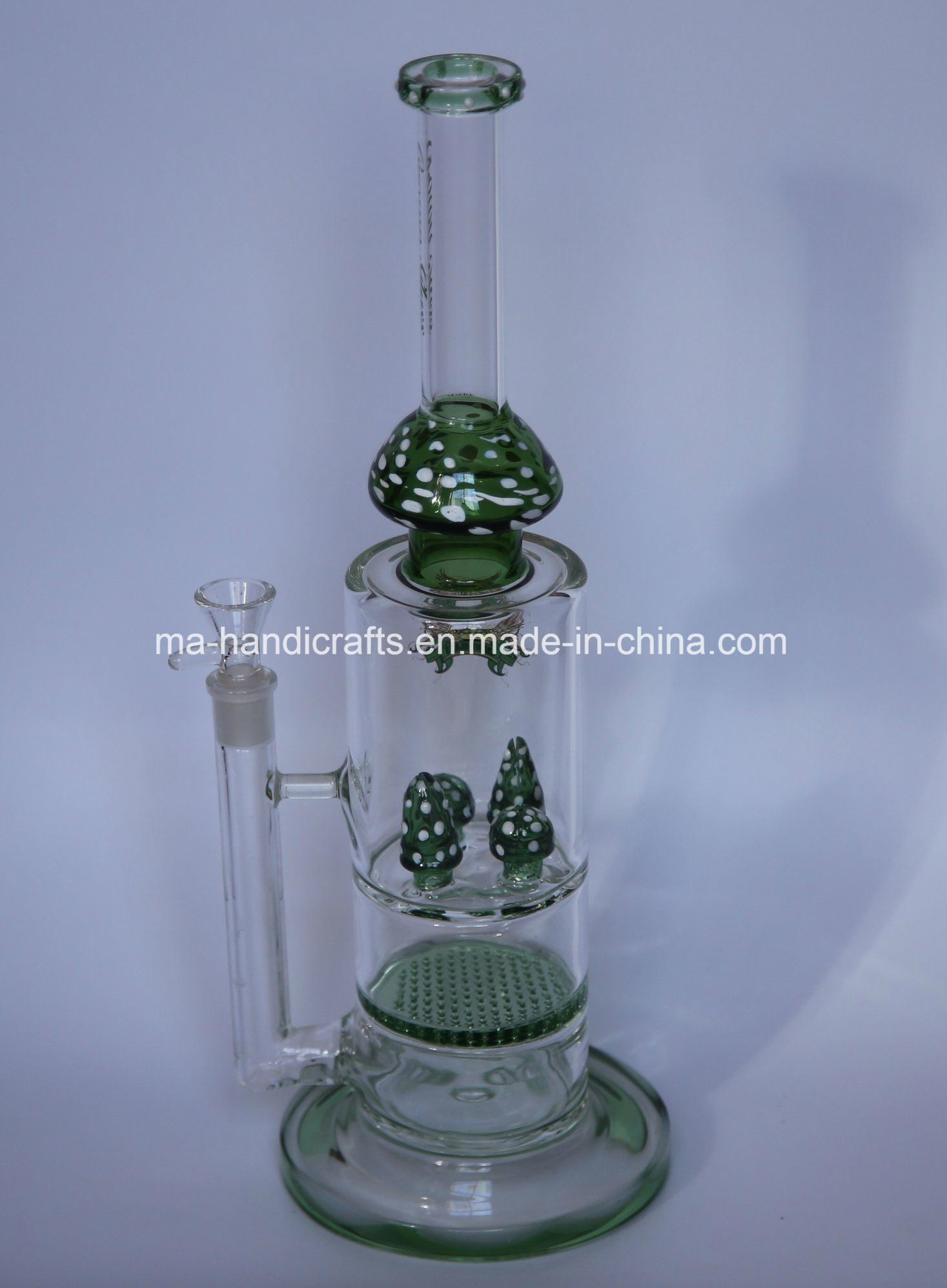 Green Mushroom Smoking Water Pipes with Honey Comb Percs