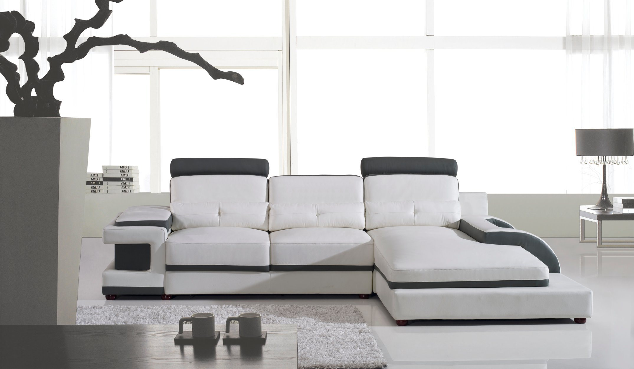 Modern Living Room Sofa Large Corner Leather Sofa U Shaped Sectional