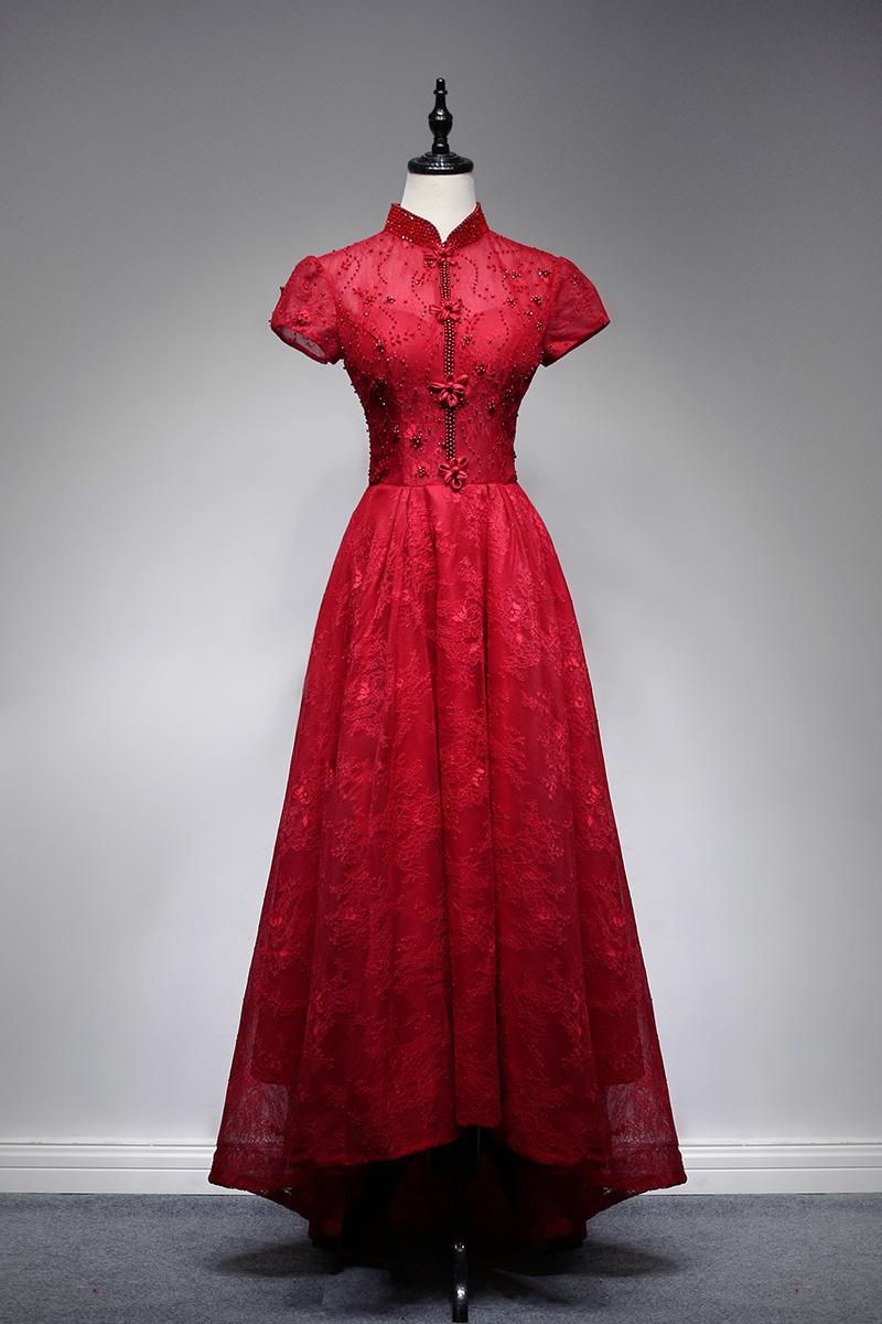 Creation Bead Vintage Chinese Style Cheongsam Lace/ Restonic Evening Dress