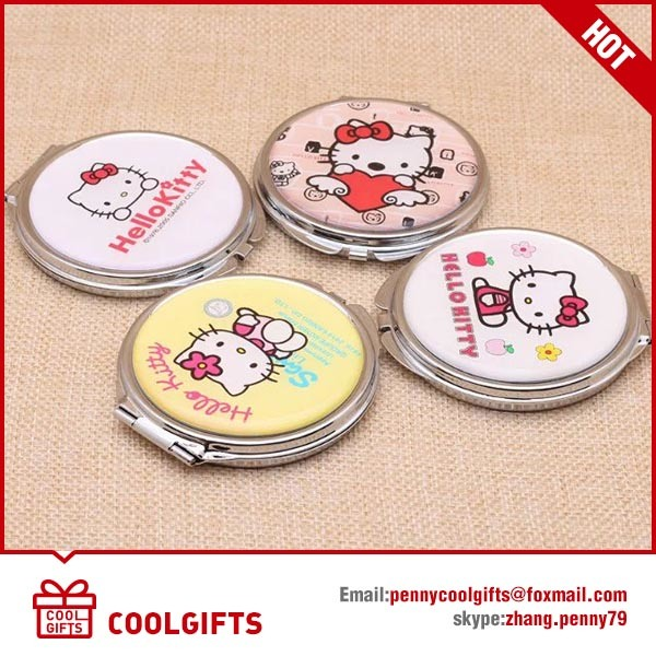 Cute Epoxy Metal Pocket Foldable Mirror with Cartoon Print