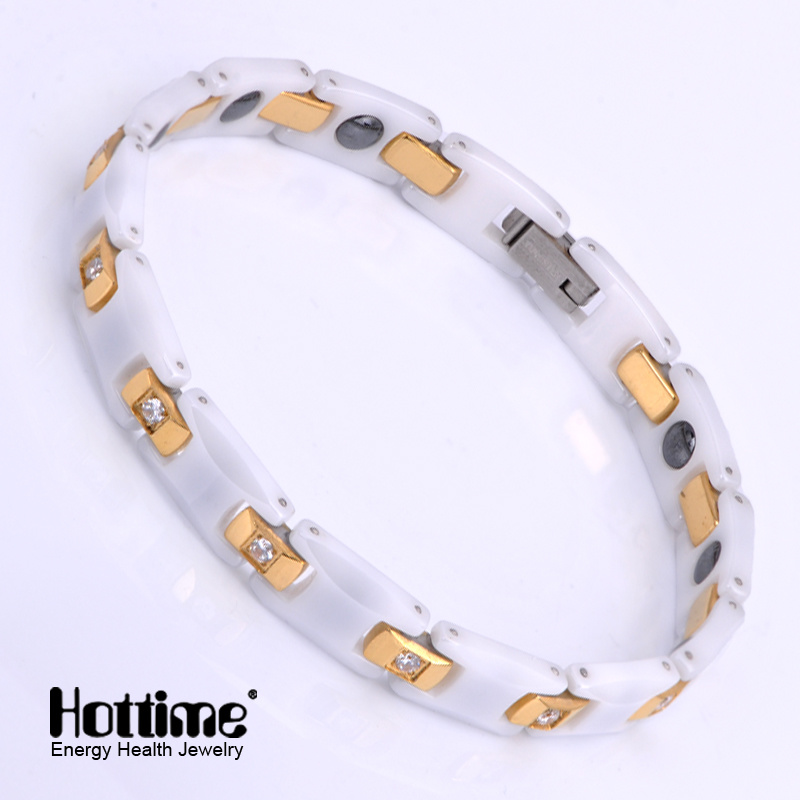 Stainless Steel and Ceramic Link Bracelet for Lady with Crystal