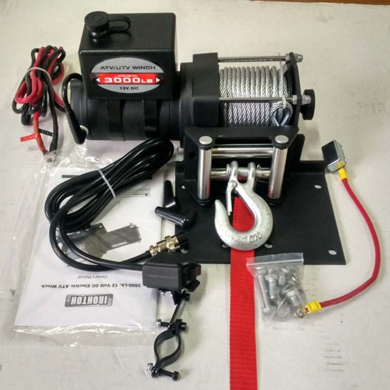 ATV/UTV 5000lb Electric Wire Rope Winch with Mounting Plate