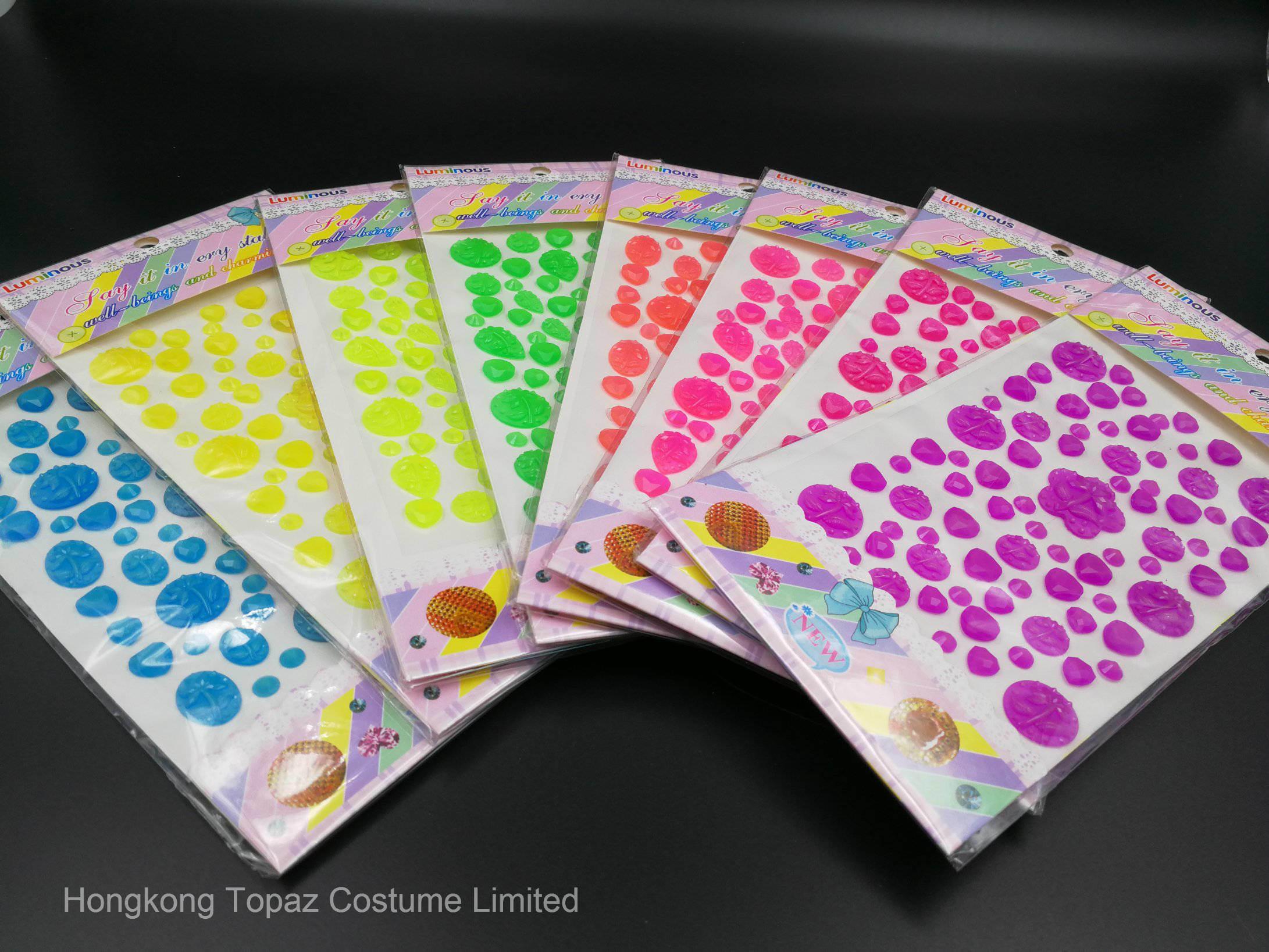 Glow in The Dark Crystal Rhinestone Sticker Luminous Resin Epoxy Sticker (TSL-01)
