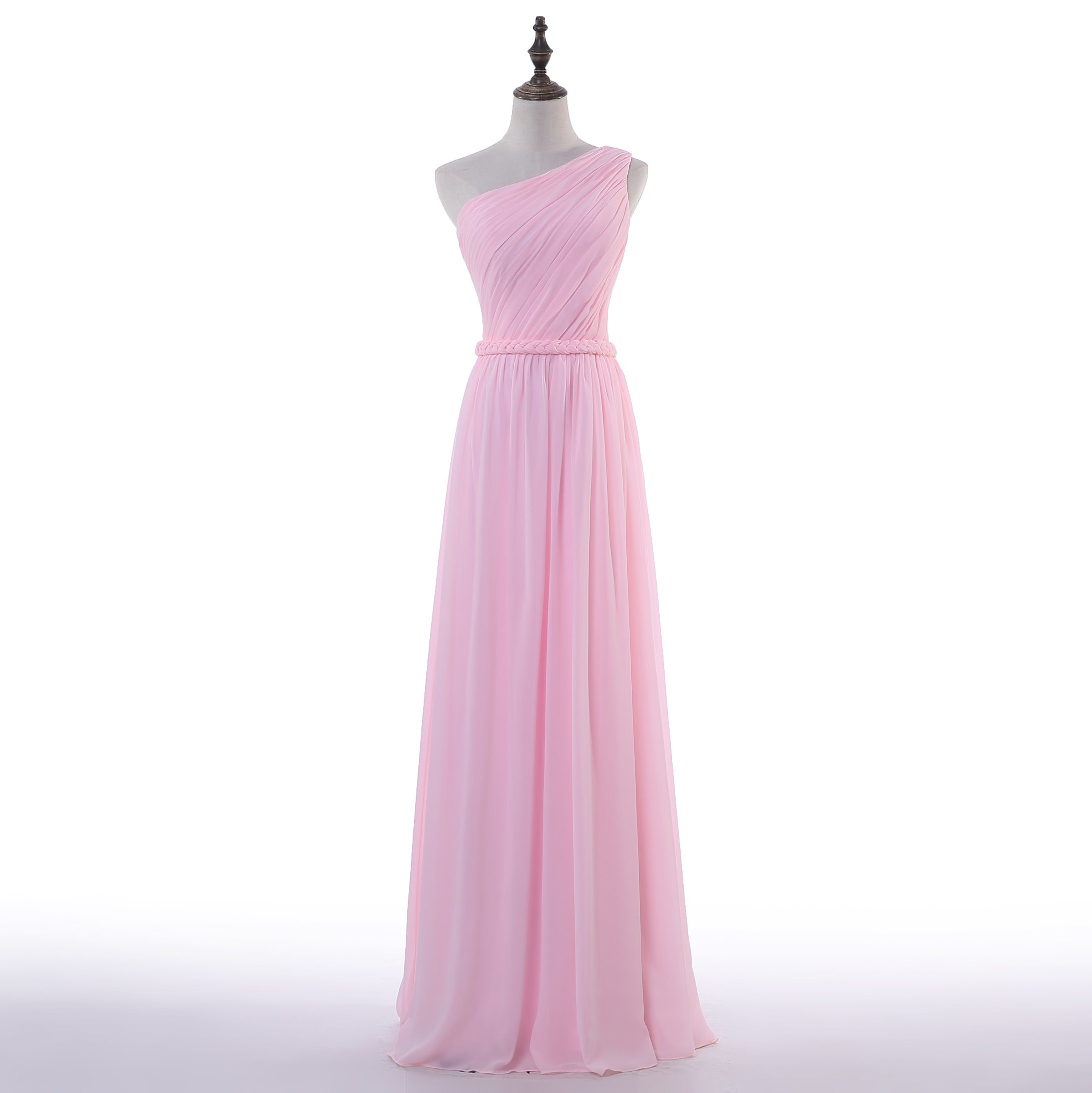 Aoliweiya New Standard Size Chiffon Pink Bridesmaid Dress