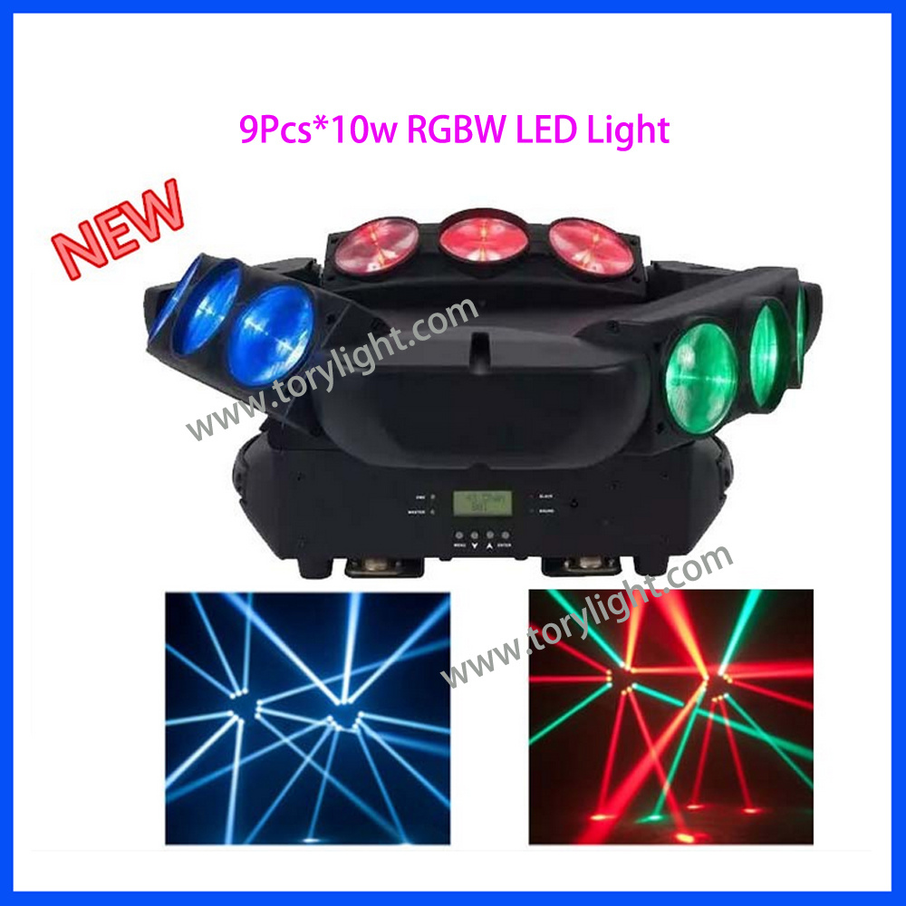 LED Beam 9PCS*10W RGBW Spider Moving Head Light