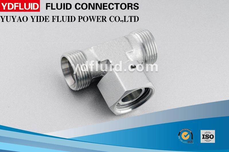 Ningbo Factory Swivel Nut Tube Fitting Adapter Metric Hydraulic Tee Fitting