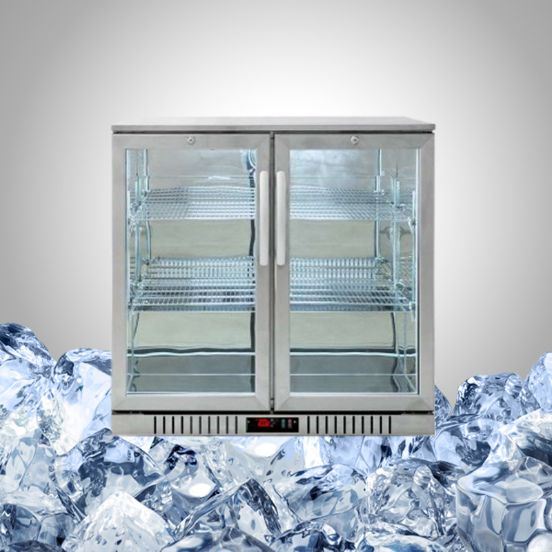 Stainless Steel Undercounter Fridge with Glass Door