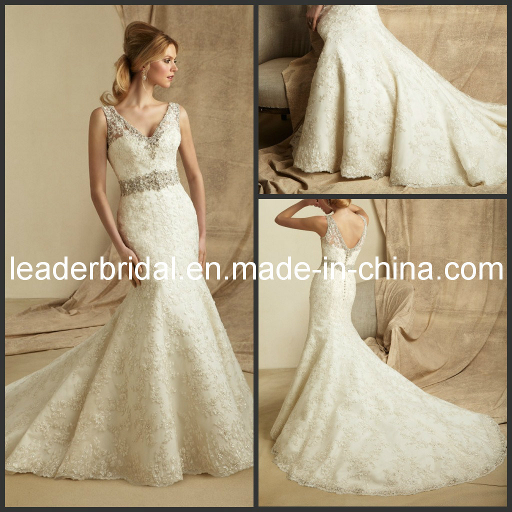 China Lace Sweeheart Mermaid V Neck Court Train Bridal