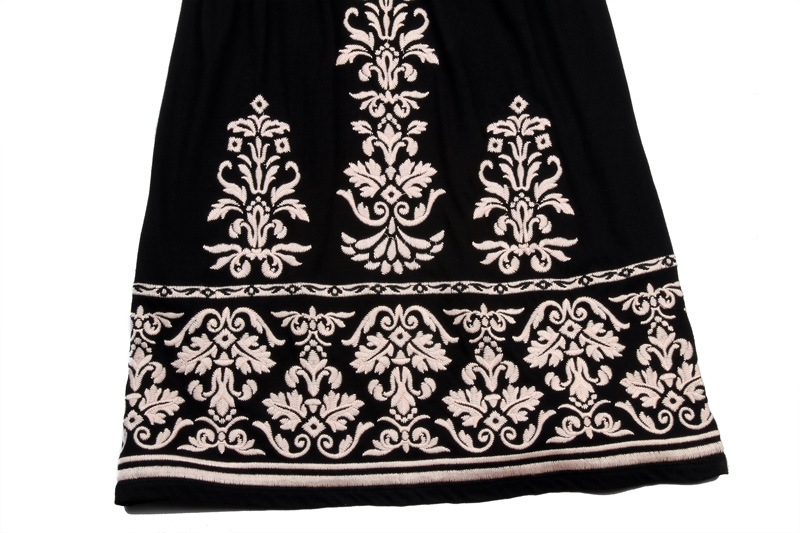 Black Dress Women′s Summer Embroider Braces Skirt